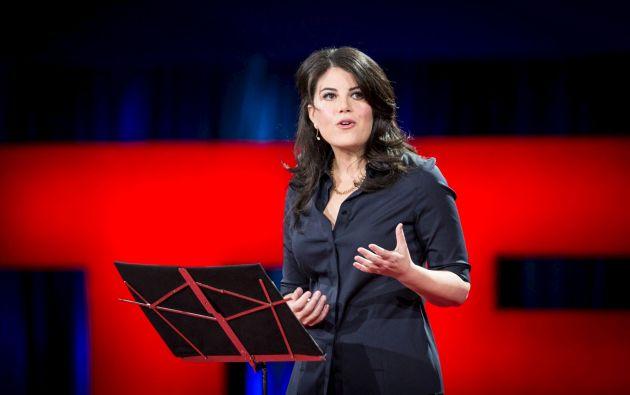 Monica Lewinsky durante su charla TED. Foto: TED