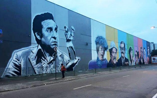El mural, de 1.000 metros cuadrados, ocupa dos cuadras de la Avenida Guarapiranga de Sao Paulo.