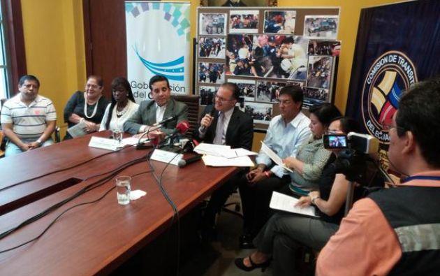 La rueda de prensa fue dada conjuntamente entre la Gobernación del Guayas y la Comisión de Tránsito. Foto: CTE