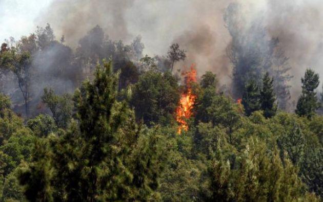 Las llamas se expandieron al parque nacional Conguillío. Foto: Twitter.