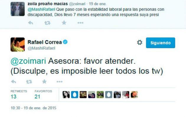 """El presidente Rafael Correa usa Twitter para canalizar solicitudes de ciudadanos con un """"favor atender"""" y para promover su proyecto político."""