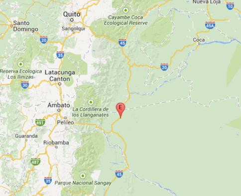 Lugar del epicentro del sismo.