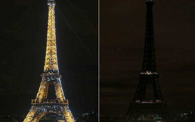 Del lado derecho se aprecia la Torre Eiffel apagada, dejando la ciudad a oscuras, en contraste a las miles de luces que normalmente muestra. Foto: AFP.