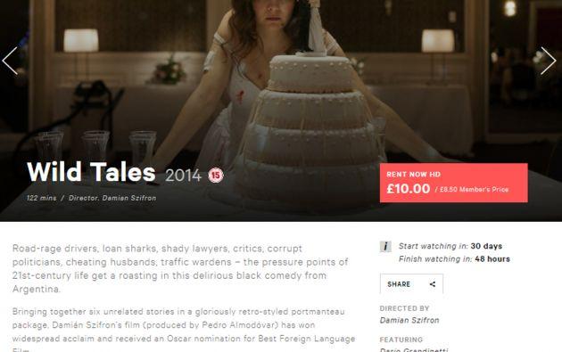 """Al final de la reseña, el BFI señala que """"Relatos Salvajes"""" (Wild Tales) es """"una obra de ficción""""."""