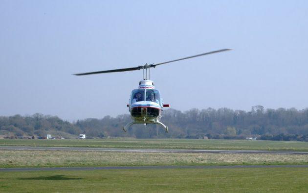 El helicóptero verificaba los daños causados por los aluviones a instalaciones de una empresa.