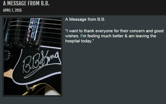 """El mensaje de agradecimiento del """"Rey del Blues"""" en su página web."""