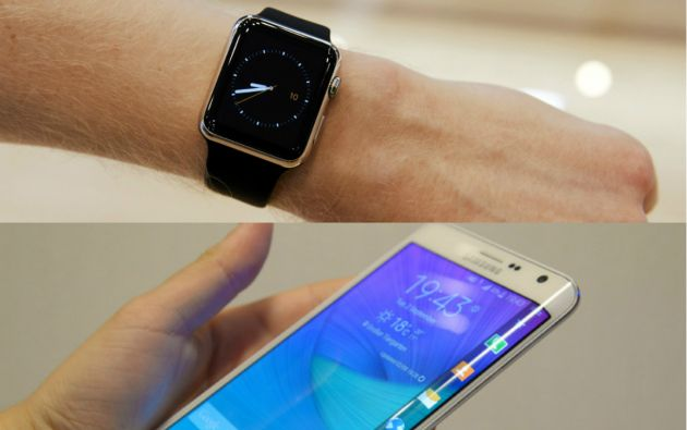 El nuevo smartphone de Samsung sale a la venta y Apple lanza este viernes el muy esperado Apple Watch, un reloj inteligente disponible mediante reserva previa. Fotos: REUTERS.