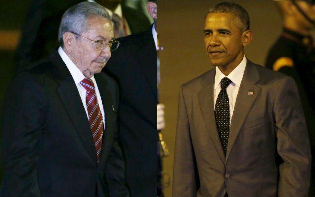 Castro y Obama en su llegada a Panamá, para participar en la Cumbre de las Américas. Fotos: REUTERS.
