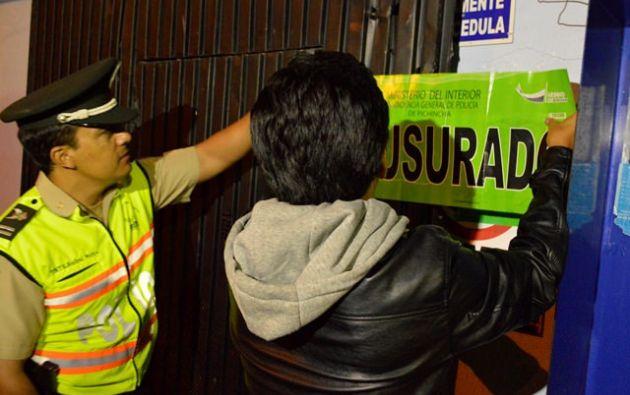 El cierre de los locales se realizó en un operativo coordinado entre la Jefatura de Inteligencia y la Intendencia de Pichincha. Fotos: Flickr / Ministerio del Interior.