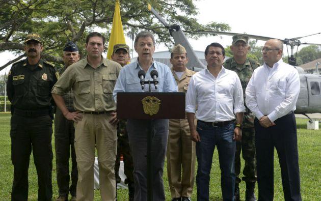 """""""... si quieren la paz, tienen que demostrarlo con hechos y no con palabras"""", dijo Juan Manuel Santos, 48 horas después del mortal ataque contra militares. Foto: REUTERS"""