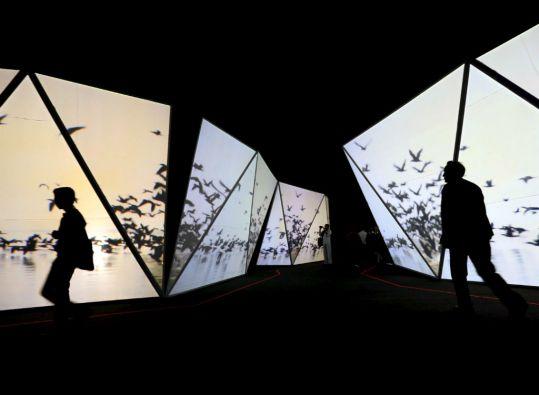 Un pasillo se encuentra rodeado de pantallas que emiten videos de la selva, el cielo y los manglares de la región que inspiró al escritor. Foto: REUTERS