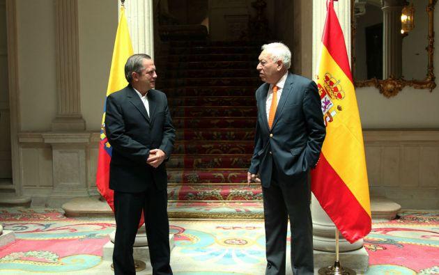 El ministro de Relaciones Exteriores Ricardo Patiño se reunió esta semana con su homólogo español , José Manuel García- Margallo. Foto: Cancillería de Ecuador
