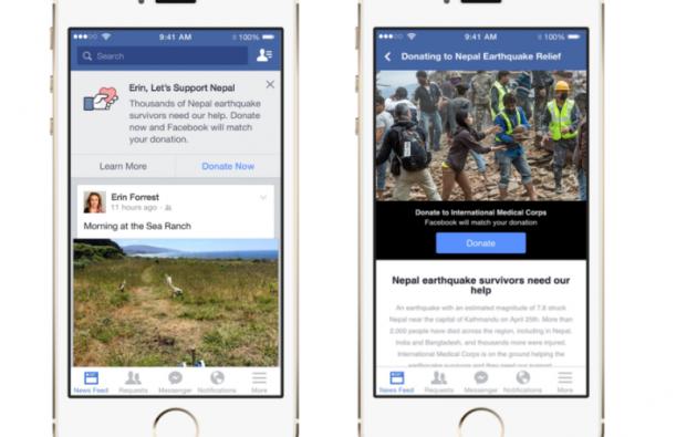 """A partir del lunes los usuarios de Facebook verán un mensaje al tope de su segmento de """"noticias"""" con una opción de donación."""