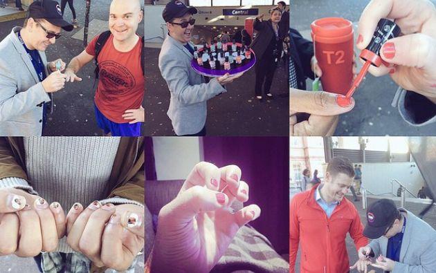 Como parte de la campaña, KIIS 1065, ofreció pintar las uñas gratis a quienes se acerquen a sus oficinas. Foto: Instagram / KIIS 1065.
