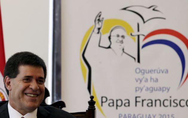 El presidente de Paraguay Horacio Cartes durante una conferencia en la que se anunció el programa de la visita papa a Paraguay. Foto: Archivo / REUTERS.