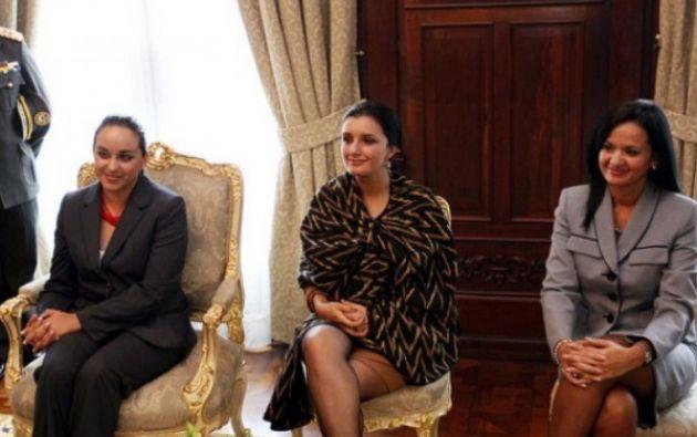 Gabriela Rivadeneira, Rosana Alvarado y Marcela Aguiñaga fueron ratificadas en taller del bloque. Foto: Presidencia de la República