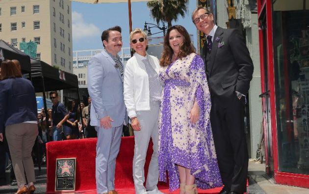 Melissa McCarthy junto a Ben Falcone (i), Ellen DeGeneres y el director Paul Feig (d). Foto: AFP