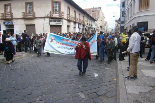 Protesta en Riobamba. Foto: Ecuavisa.com