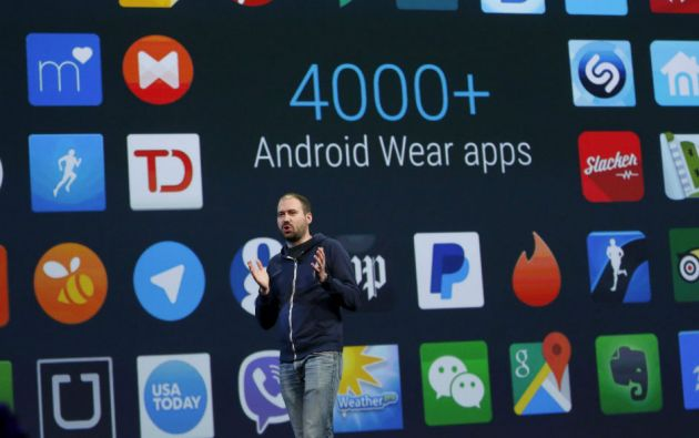 David Singleton, director de Android Wear, habla durante la conferencia de desarrolladores de Google. Foto: REUTERS