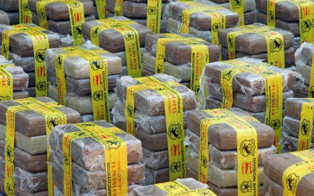 La droga estaba camuflada en una carga de palmiste, una sustancia utilizada para preparar alimentos para animales. Foto referencial: Ecuavisa.com.