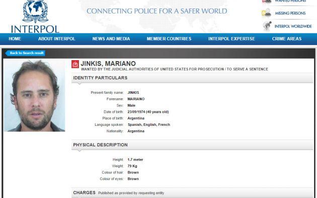 Captura de pantalla de la ficha de Mariano Jinkins publicada en la página de la Interpol. Foto: Captura.