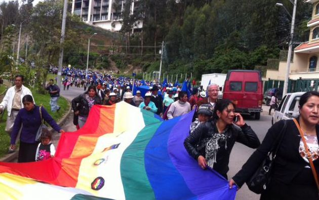 Participaron organizaciones indígenas y campesinas de las provincias de Azuay y Cañar. Foto: Twitter.
