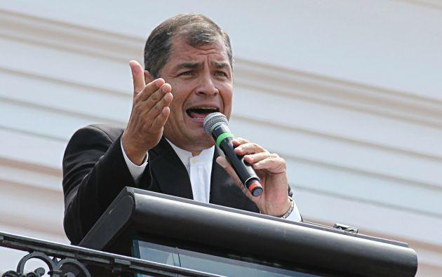 Correa durante su discurso de la mañana desde el palacio presidencial. Foto: Flickr Presidencia Ecuador.