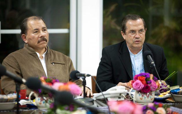El presidente Nicaragua, Daniel Ortega y el canciller Ricardo Patiño, en una reunión en 2013. Foto: Archivo / Wikimedia.