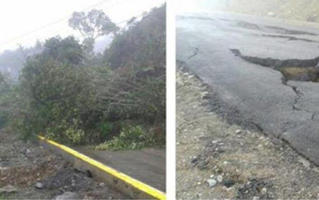Los deslaves en la vía que une al cantón Patate con Baños dejaron incomunicadas a 90 familias. Foto: Ecuavisa.