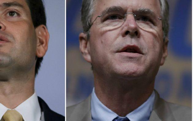 Jeb Bush (derecha) y Marco Rubio. Fotos: REUTERS.