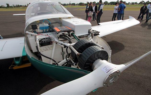 El motor del avión electrico Sora-e. Foto: AFP