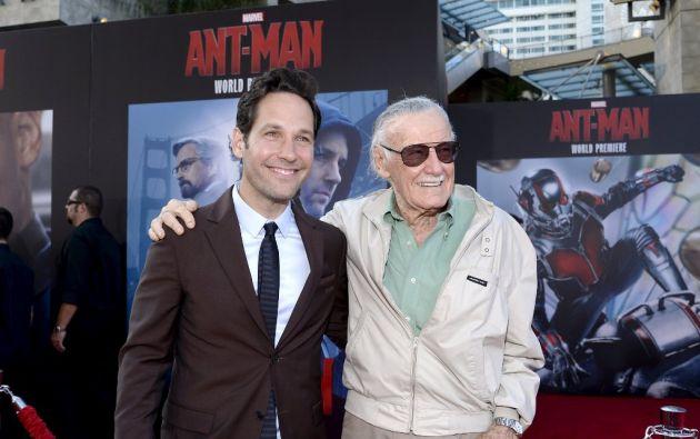 Paul Rudd y Stan Lee en el estreno de Ant-Man en Hollywood. Foto: REUTERS