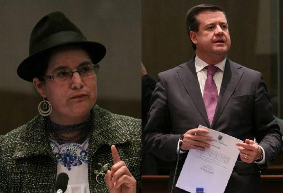 Asambleístas Lourdes Tibán y Andrés Paéz.