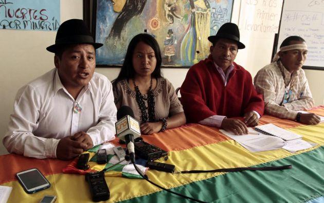Hoy en Quito, la Conaie ofreció una rueda de prensa sobre la suspensión del desalojo de la su sede. Foto: API