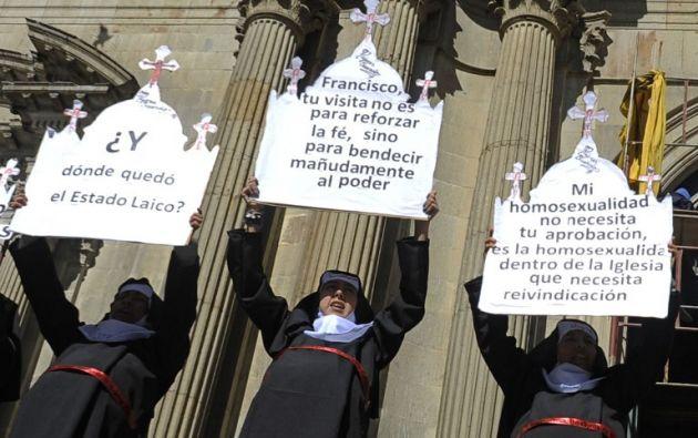 Protesta contra visita papal en Bolivia. Foto: AFP