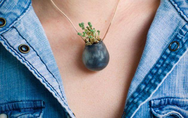 """Las """"wereable plants"""" pueden llevarse como un collar, un anillo, una pulsera, un broche o incluso en una bicicleta."""