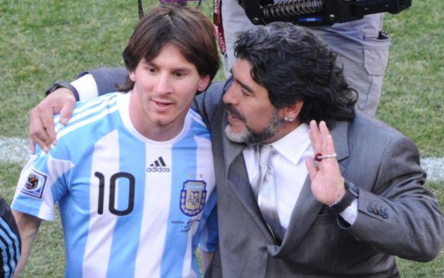 Maradona dirigió a Lionel Messi en el Mundial Sudáfrica 2010.