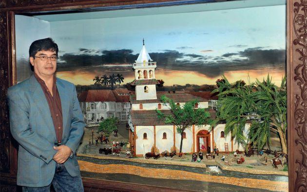 Gustavo Vinueza Vásquez es el arquitecto autor del diorama que recrea el contexto del hallazgo. Contó con la asistencia de Pedro Maldonado, Emeldo Solís y Tomás Oleas. Foto: José Dimitrakis