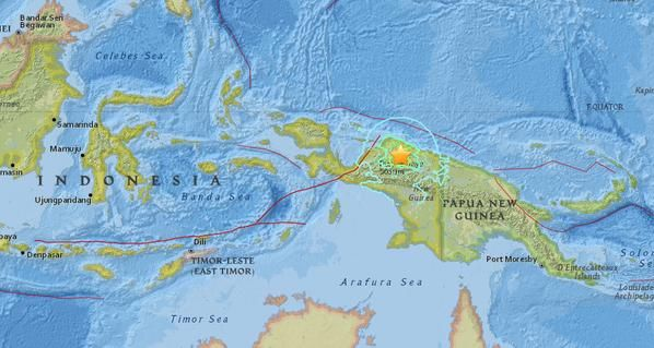 El epicentro del temblor se registró a unos 250 kilómetros al oeste de Jayapura.