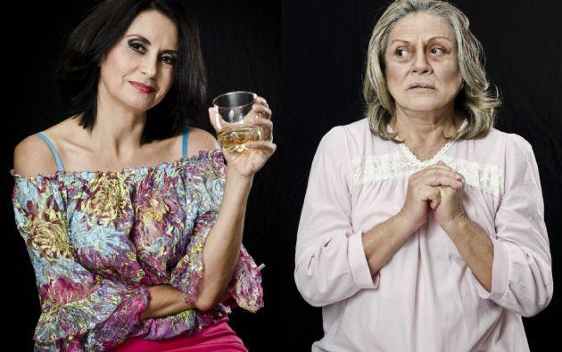 Montse Serra (Cora, mamá de Caperucita) y Martha Ontaneda (Abuela Eloísa). Fotos: cortesía Gabo Abad Fotografía