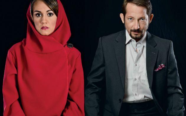 """Verónica Garcés y Alejandro Fajardo en los papeles de Silvia-Caperucita y Víctor, """"el lobo"""" mentalista. Fotos: cortesía Gabo Abad Fotografía"""