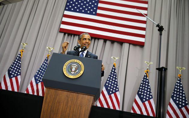 En un discurso desde la American University de Washington, Obama defendió la importancia del pacto nuclear con Irán. Foto: REUTERS.