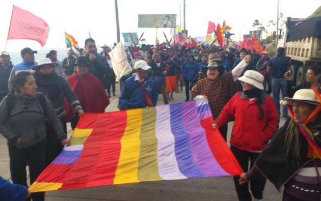 La marcha indígena, que culminará en 13 de agosto en el paro nacional, inició el lunes pasado. Foto: Twitter / Conaie.
