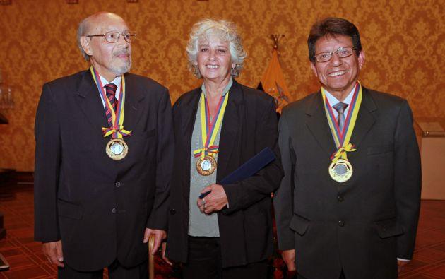 Luis Cumbal, Pilar Bustos y Fernando Tinajero. Foto: Presidencia de Ecuador