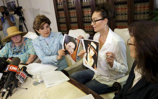 Eden Tirl, Linda Ridgeway Whitedeer y Colleen Hughes contaron en una rueda de prensa celebrada en Los Ángeles detalles de sus encuentros con el artista. Foto: REUTERS.