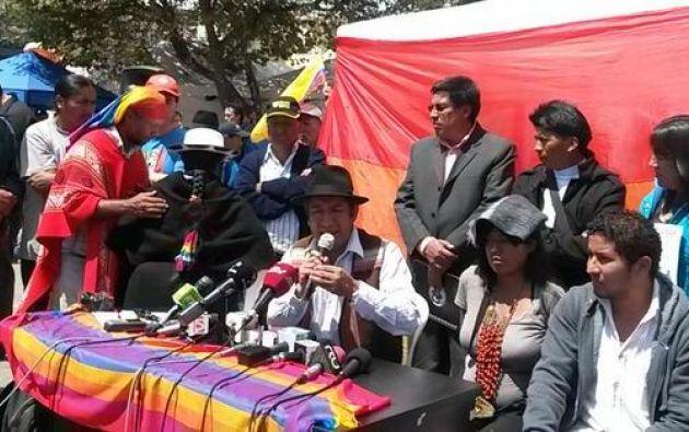 El prefecto Salvador Quishpe responsabiliza al Gobierno de jornadas violentas. Foto: Facebook / Conaie.