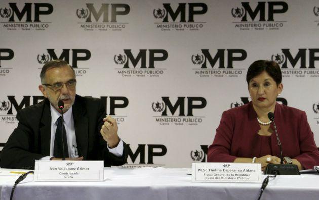 Iván Velásquez, miembro de la CICIG, y Thelma Aldana, fiscal general y jefa del Ministerio Público.