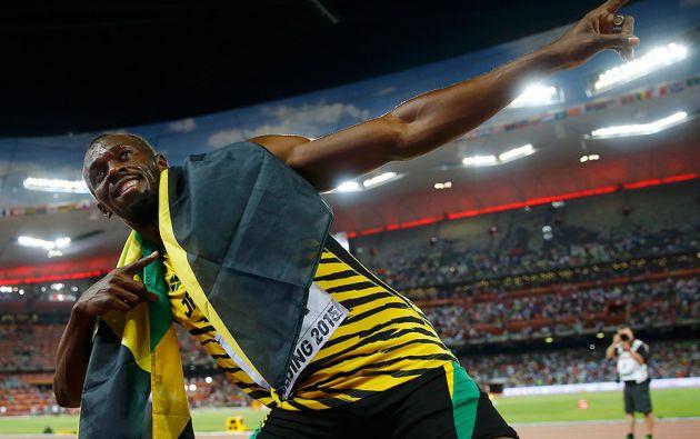 """Bolt volvió a celebrar en el """"Nido de Pájaro"""" de Pekín. Foto: REUTERS"""