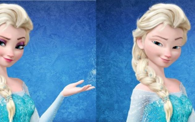 La princesa Elsa, de la película Frozen, con y sin maquillaje.