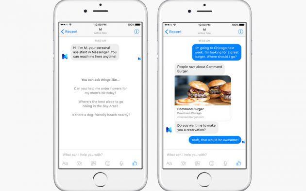 Facebook espera ponerse a la vanguardia en el segmengto de asistentes personales, donde ya se conoce a Siri de Apple y Cortana de Microsoft.